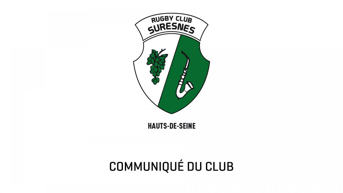 Communiqué du Rugby Club Suresnes Hauts-de-Seine