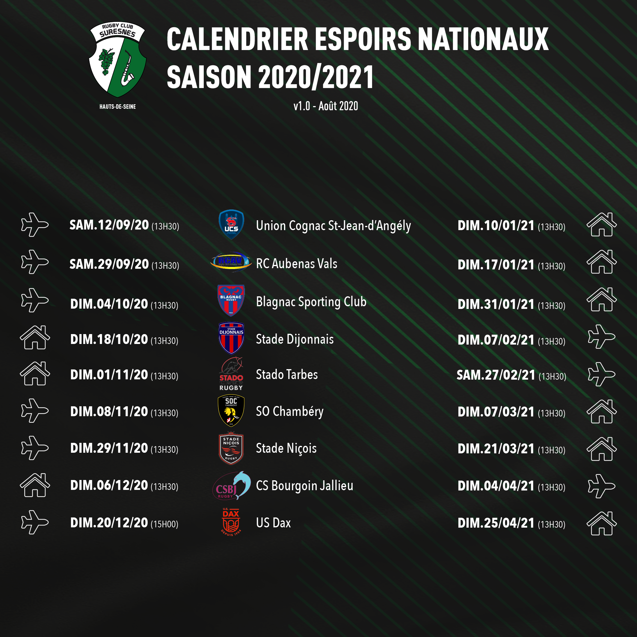 Calendrier championnat Espoirs Nationaux - RC Suresnes