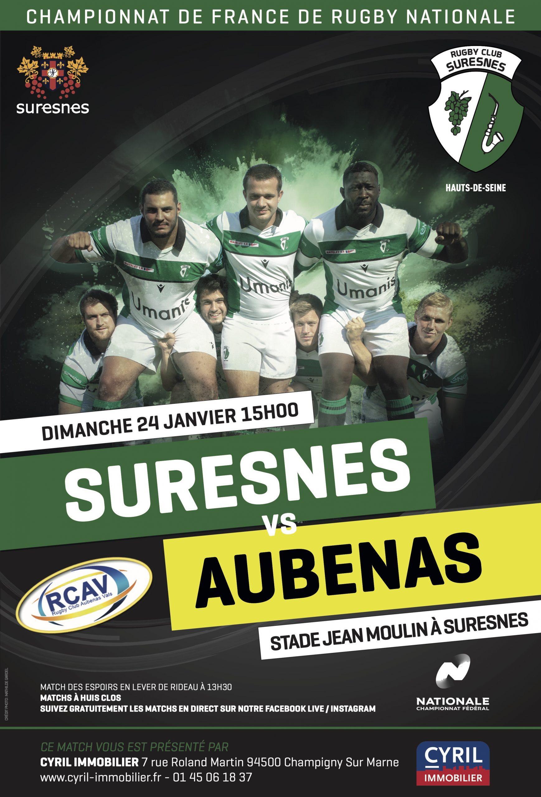 RC Suresnes / RC Aubenas Vals – La diffusion en Live