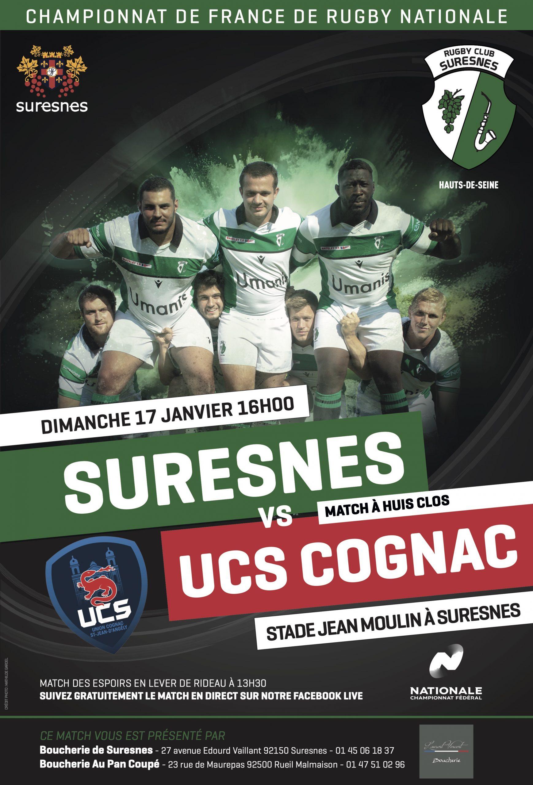 RC Suresnes / UCS Cognac – La diffusion en Live