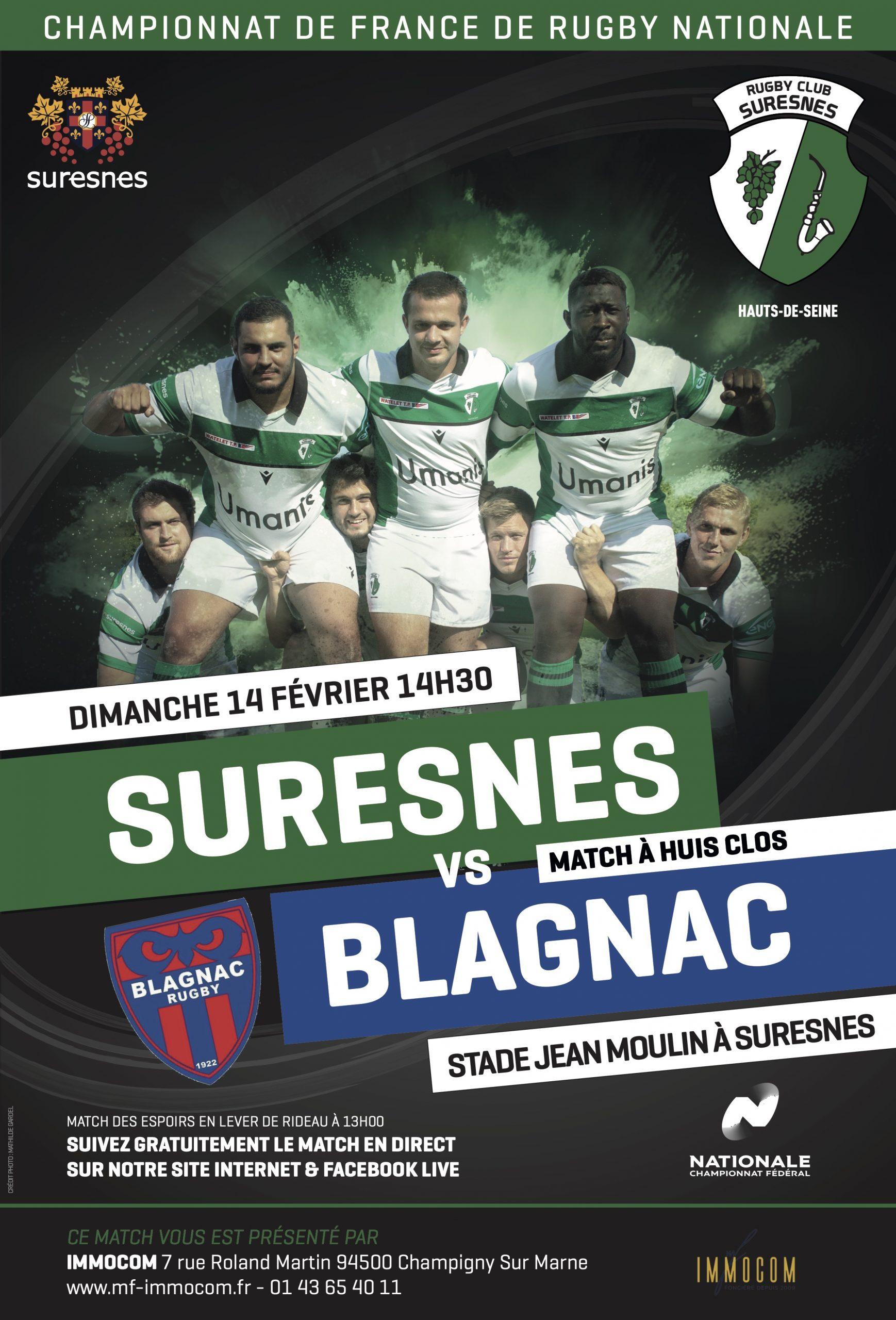 RC Suresnes / Blagnac Rugby – La diffusion en Live