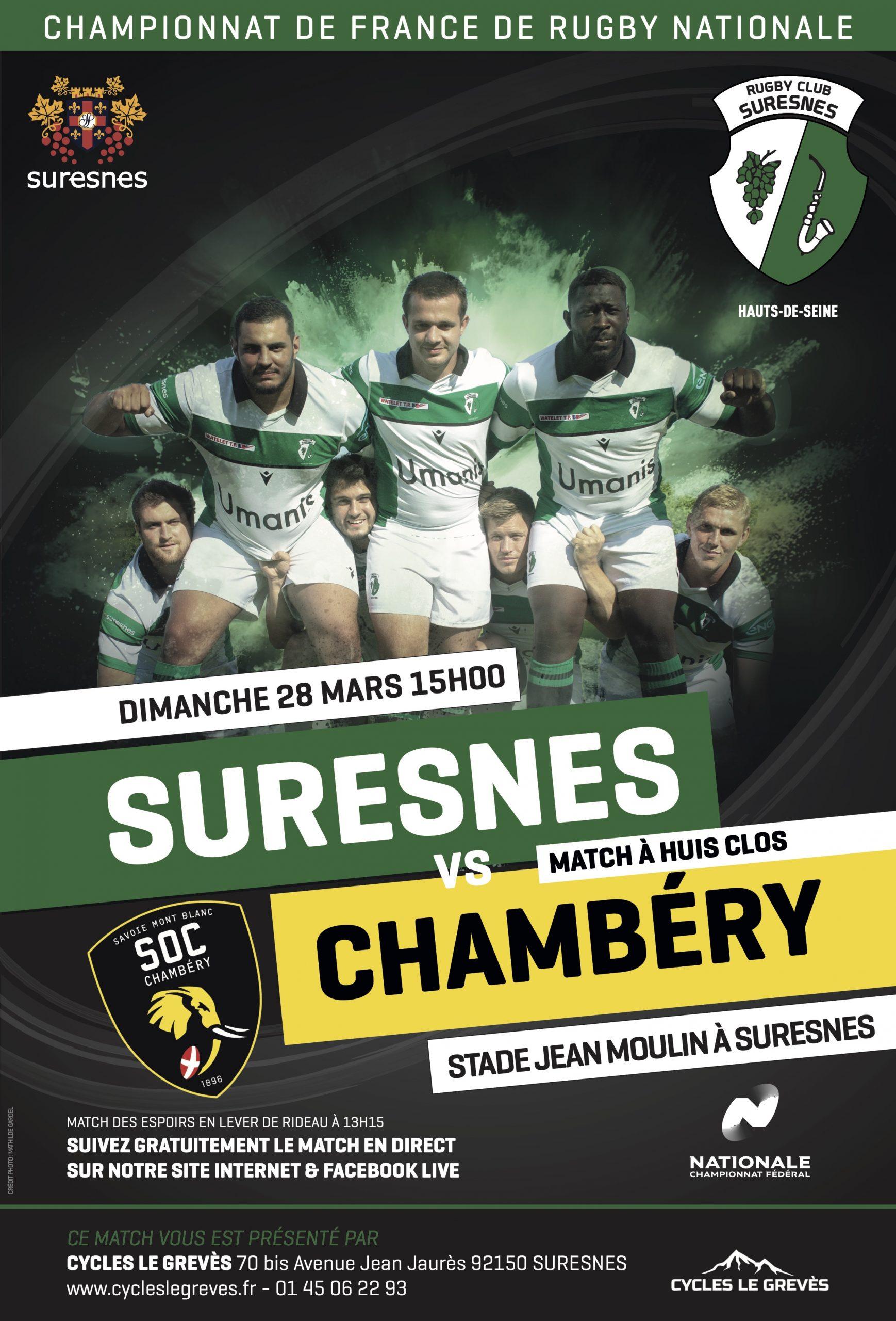 RC Suresnes / SOC Chambery – La diffusion en Live