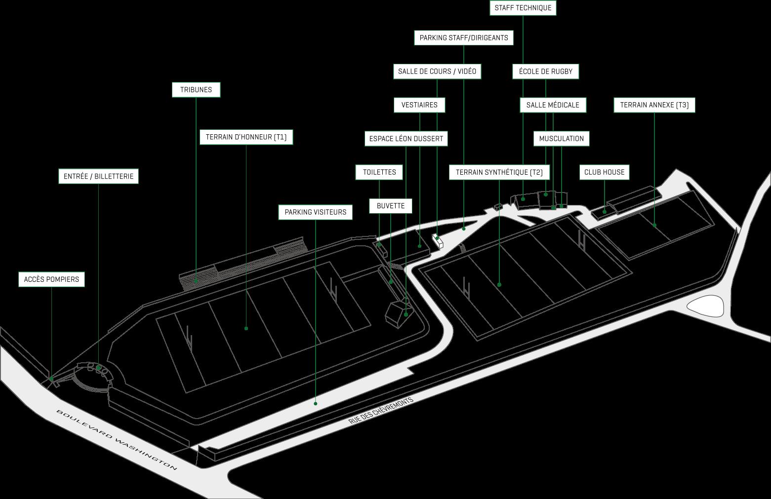 Plan du stade Jean Moulin