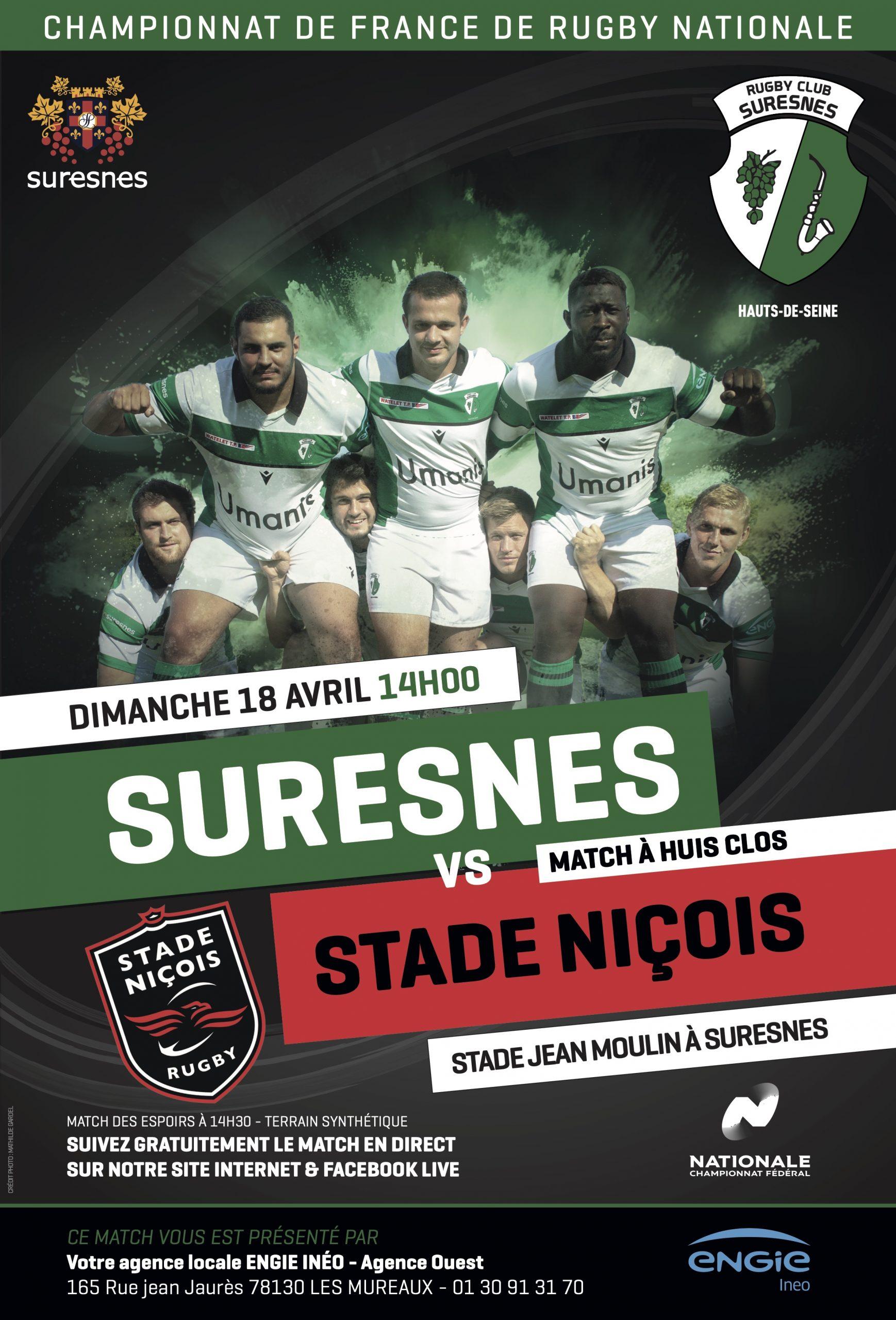 RC Suresnes / Stade Niçois – La diffusion en Live