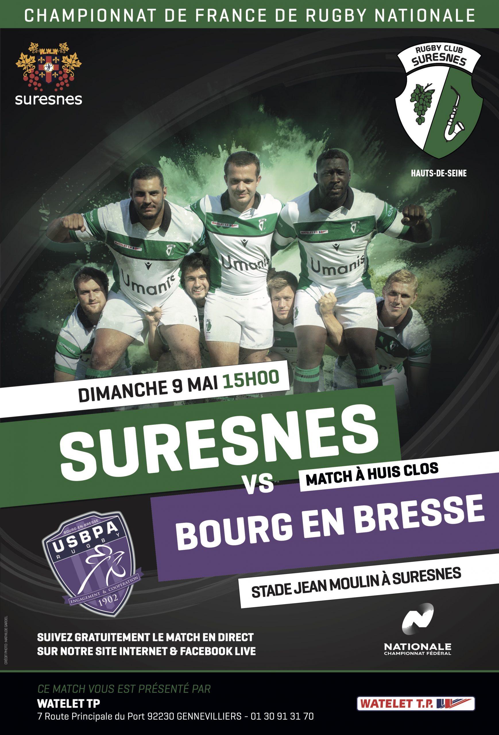 RC Suresnes / US Bourg-en-Bresse – La diffusion en Live