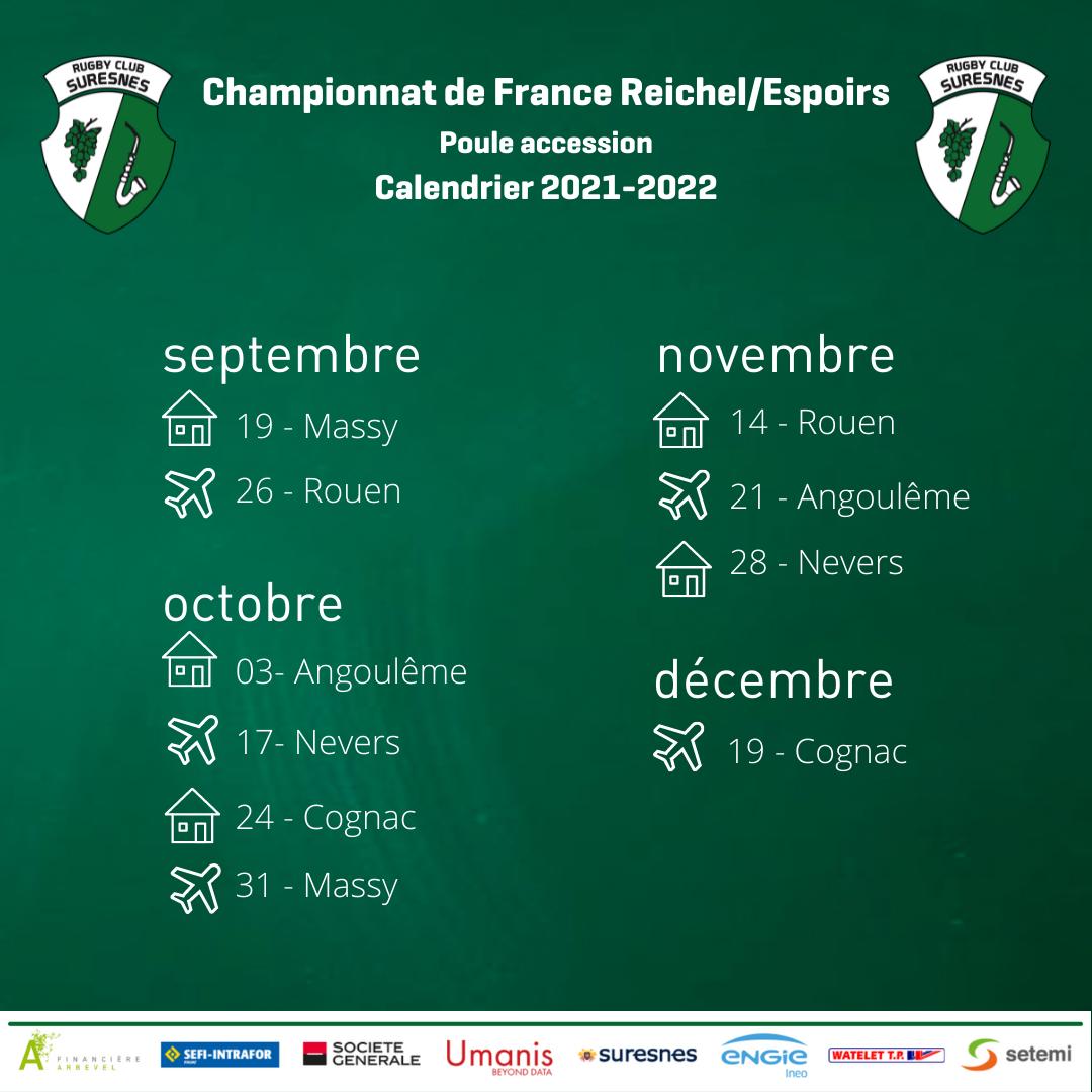 Calendrier Reichels -Espoirs 2021-2022